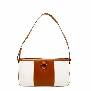 Lancel Paris White and Tan Shoulder Bag